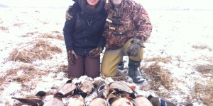 Sarah had her first goose-hunting experience as a participant in the Waterfowling Heritage Program during the fall of 2014. She is pictured here with Blaine Burns, DUC's program coordinator, and her bounty.